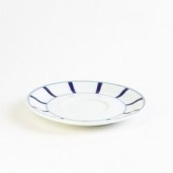 Assiette ronde plate grise et bleue en porcelaine basque de qualité