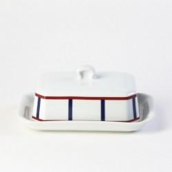 Assiette ronde plate en porcelaine basque - vaisselle rouge et bleue