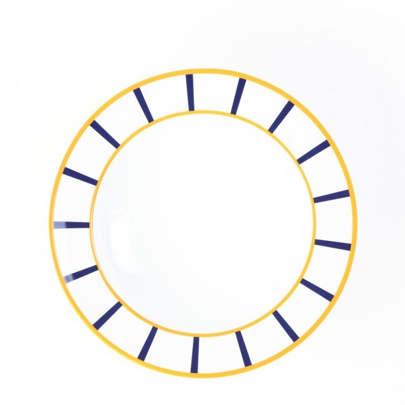 Plat rond porcelaine basque de qualité - XL - jaune et bleu