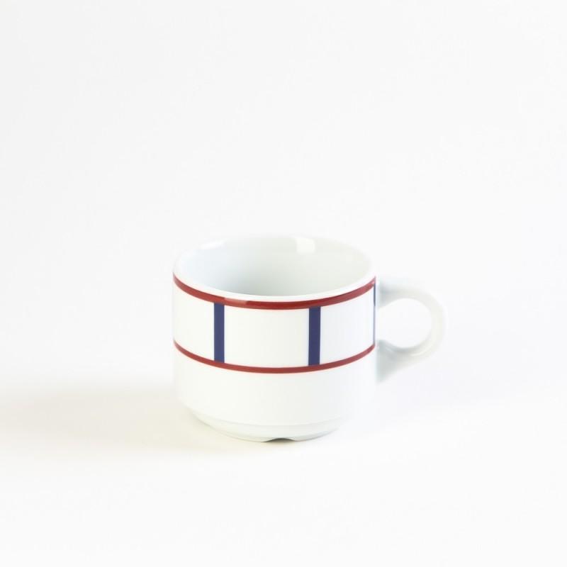 Beurrier en porcelaine basque avec couvercle - rouge & bleu