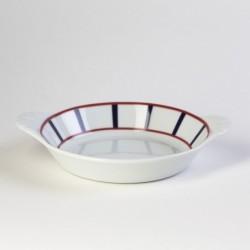 Plat à rôtir basque ovale en porcelaine de qualité - rouge et bleu