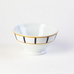 Grand bol petit déjeuner - porcelaine basque blanche - jaune & bleu