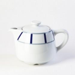 Théière basque grise et bleue en porcelaine