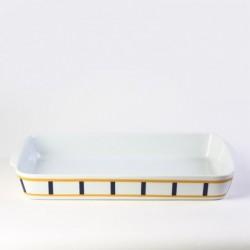 Plat à rôtir rectangulaire jaune et bleu en porcelaine
