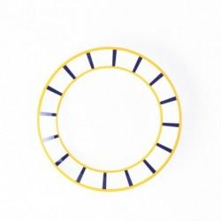 Assiette basque ronde plate jaune et bleue en porcelaine