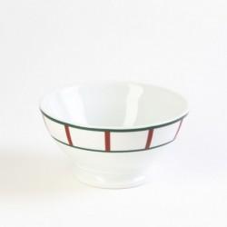 Grand bol petit-déjeuner basque rouge et vert en porcelaine